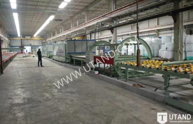 Quartz slab polishing line
